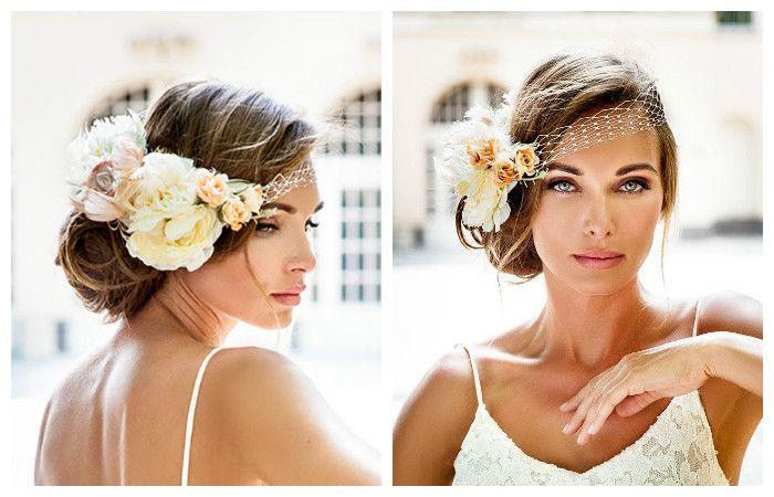 Свадебные прически со стильной повязкой на средние волосы, фото