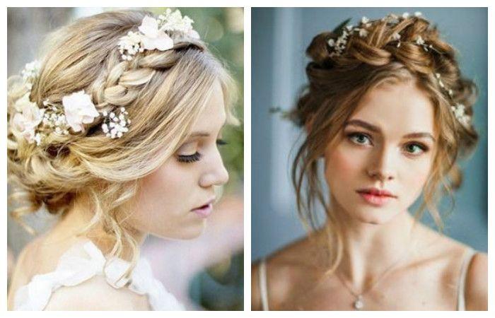 Свадебные прически в стиле бохо на средние волосы, фото