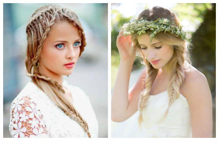 Свадебные прически с длинной челкой и косами на средние волосы, фото