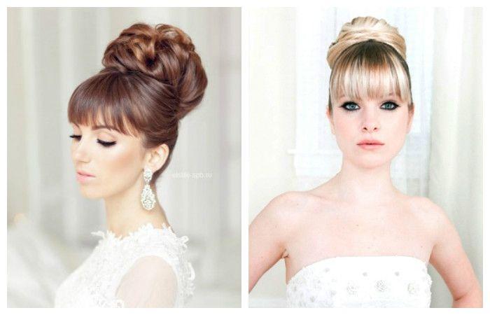 Свадебные прически в виде пучка с челкой на средние волосы, фото