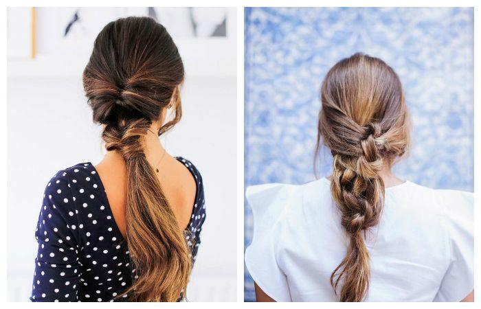 Вечерние прически с узлами на длинные волосы, фото