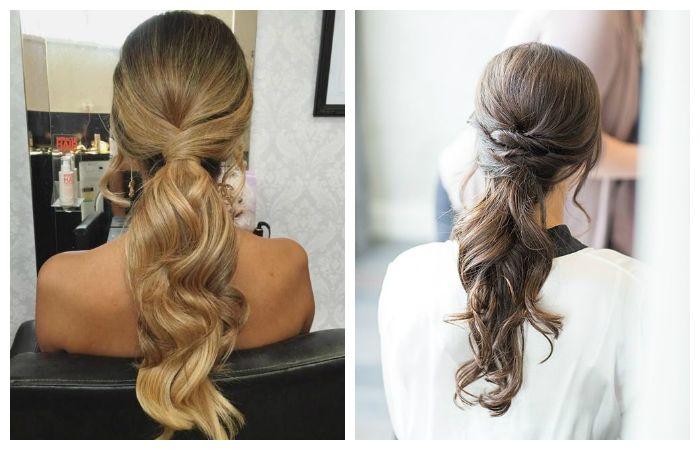 Вечерние прически с косой или хвостом на длинные волосы, фото