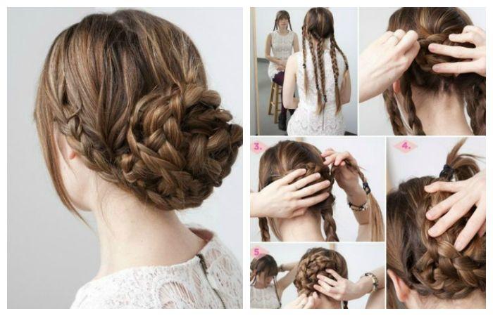 Как сделать вечернюю прическу с низким пучком из кос на длинные волосы, фото пошагово