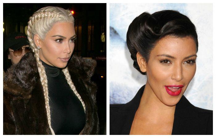 Вечерние прически в стиле Ким Кардашян на длинные волосы, фото