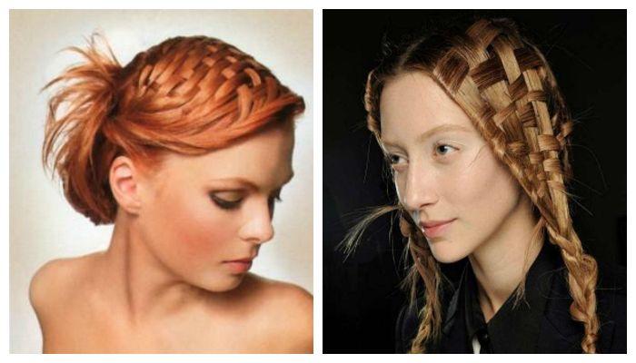 Вечерние прически с оригинальным плетением на средние волосы, фото