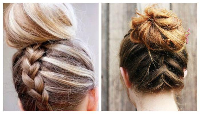 "Вечерние прически с пучком и косой ""колосок"" наоборот на средние волосы, фото"