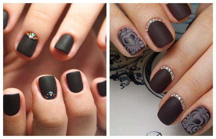 Дизайн ногтей матовым гель-лаком со стразами, фото