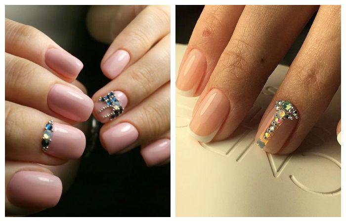 Дизайн коротких ногтей со стразами