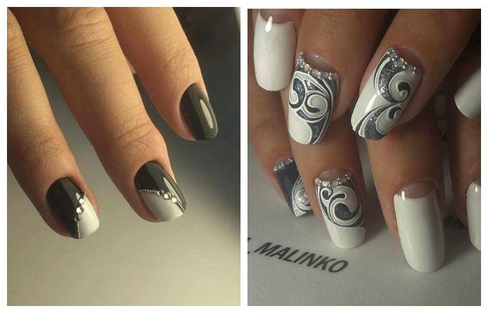 Ногти: бело-серый гель-лак со стразами, фото