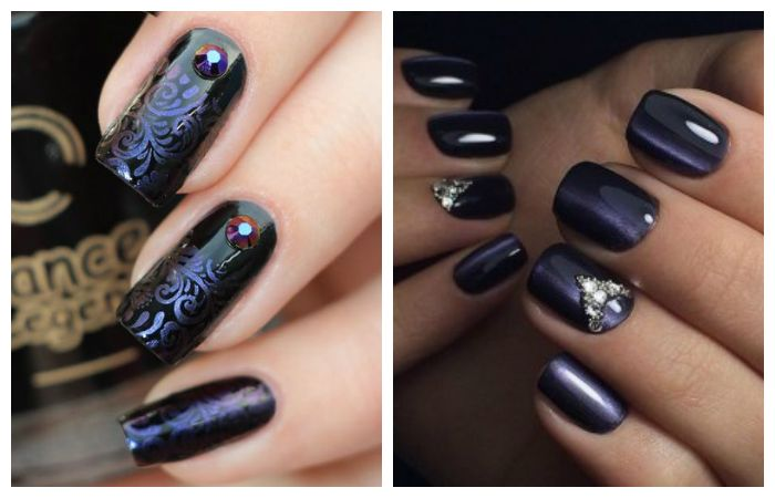 Фиолетовый дизайн со стразами, фото