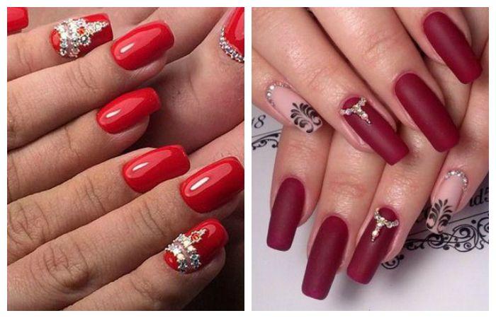 Красный дизайн ногтей со стразами, фото