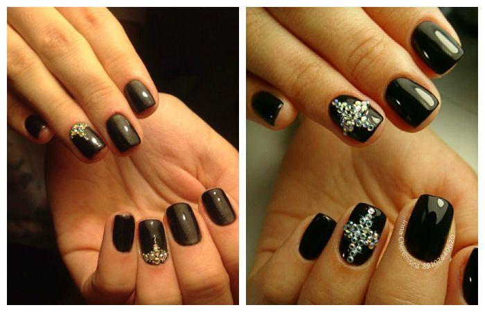Черный дизайн ногтей со стразами, фото