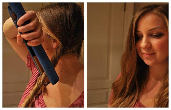Простейшая укладка волос утюжком, фото