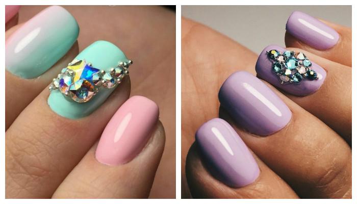 Дизайн ногтей в пастельных оттенках с россыпью страз