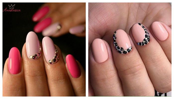 Розовый дизайн ногтей с декором из страз