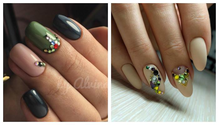 Инкрустация ногтей цветными стразами