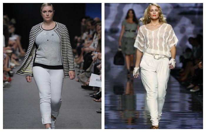 Варианты комплектов одежды для полных девушек с белыми брюками, фото