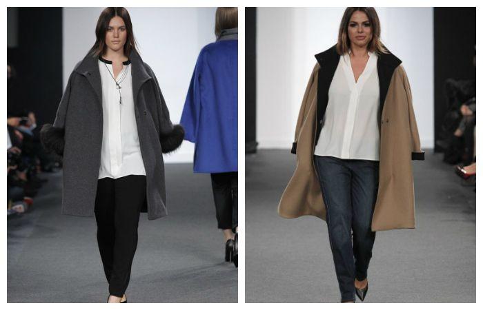 В качестве верхней одежды идеально подойдет удлиненное пальто свободного кроя или модной сейчас модели оверсайз.