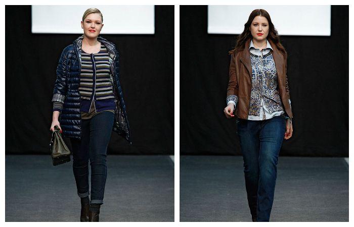 Варианты повседневной одежды для полных девушек с зауженными джинсами.