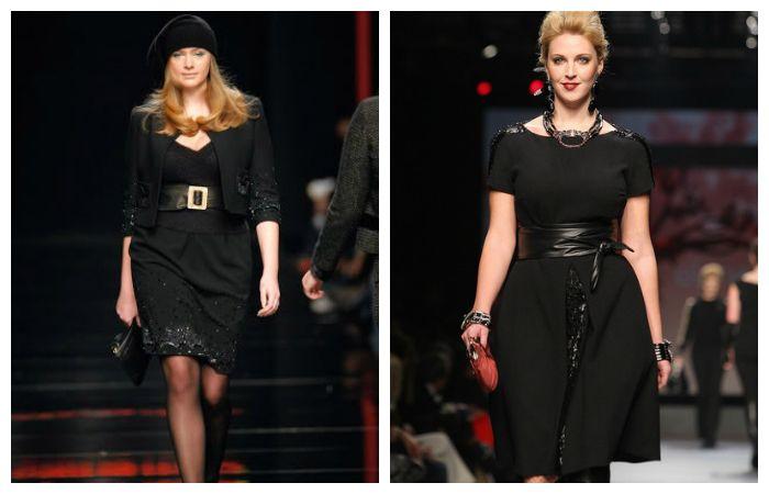 Идеальное черное платье с акцентом на талии для полных девушек, фото