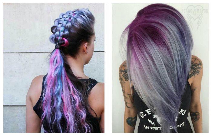 Окрашивание волос в модные фиолетовые и синие оттенки, фото