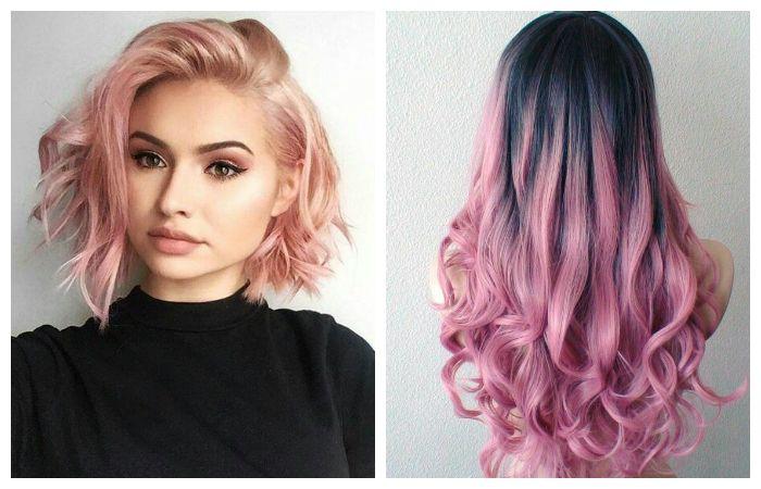 Окрашивание волос в модные розовые оттенки, фото