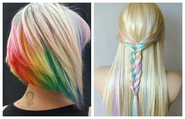 Стильное зональное окрашивание светлых волос, фото