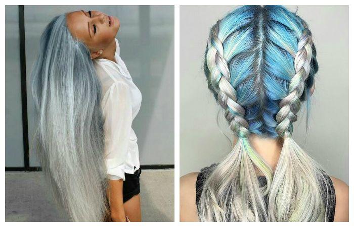 Модное окрашивание светлых длинных волос с серебристо-серые и голубые оттенки, фото