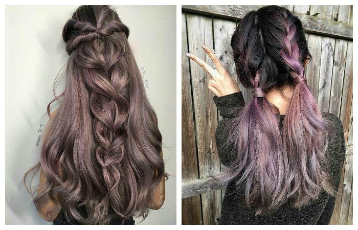 Модное окрашивание темных длинных волос, фото