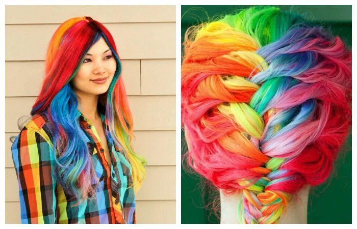 Яркое окрашивание волос во все цвета радуги, фото