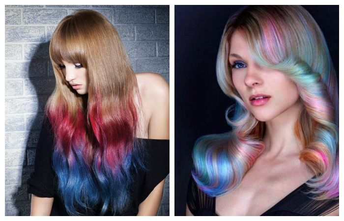 Радужное и зональное окрашивание волос, фото