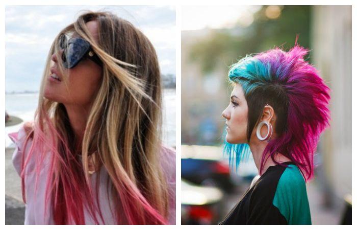 Покраска волос в стиле гранж, фото
