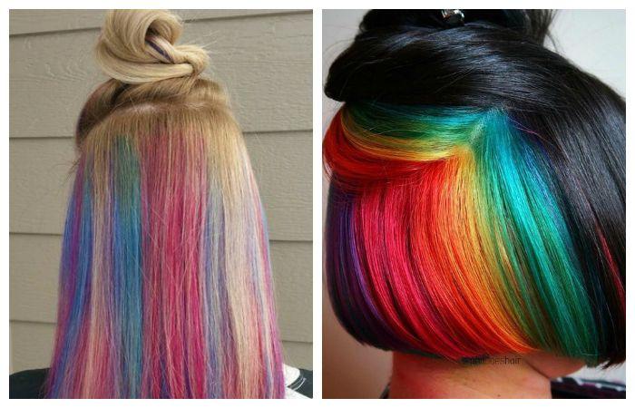 Радужная покраска волос, фото