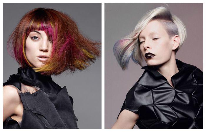 Интересная покраска коротких волос, фото