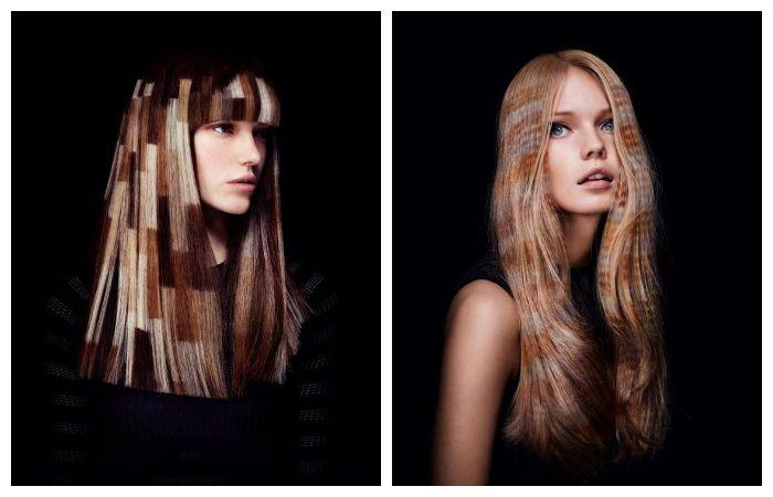 Трафаретная покраска волос, фото