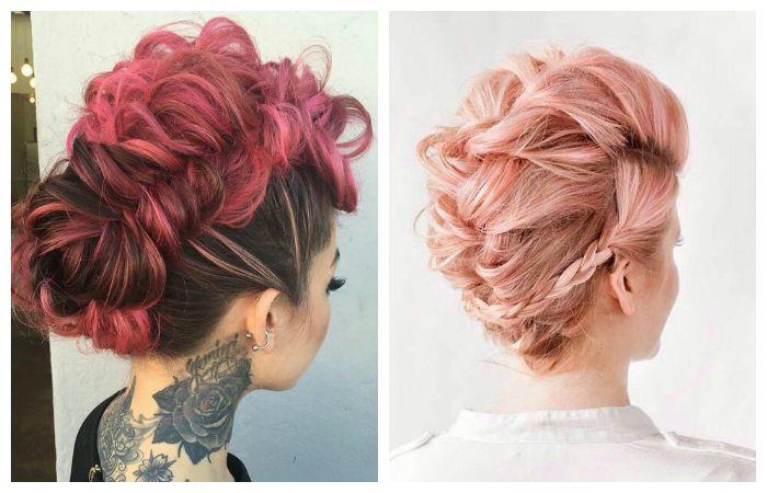 Покраска волос в модный розовый оттенок, фото