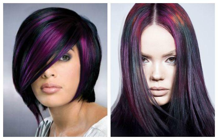 Покраска темных волос в оттенок баклажан, фото