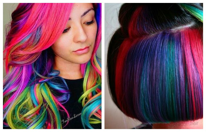 Радужное окрашивание волос, фото