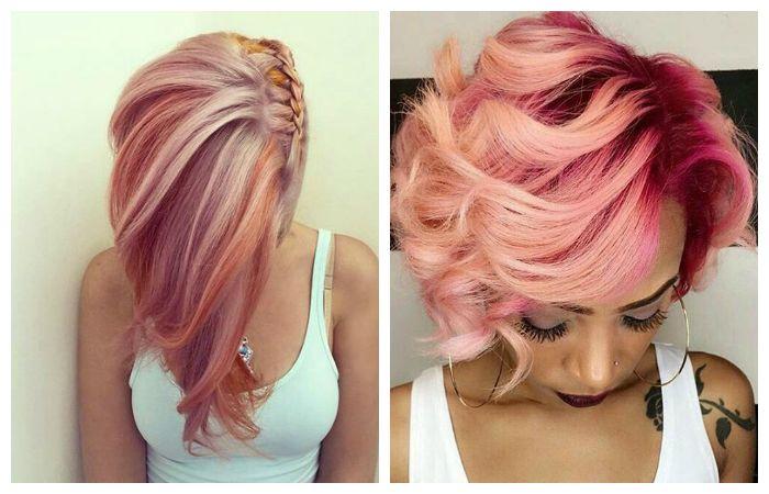 Покраска волос в розовые тона, фото