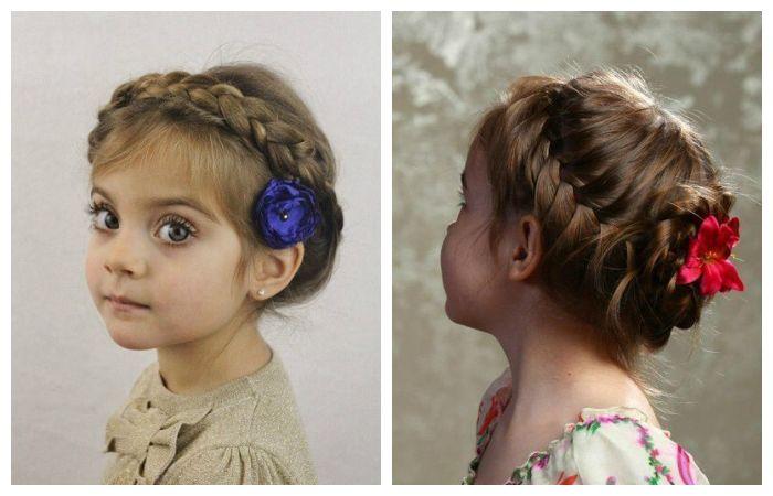 Детские прически с косой вокруг головы, фото