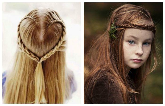 Простые детские с тонкими косами, фото