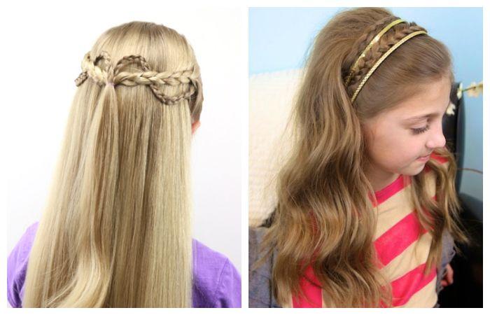 Прически с тонкими косичками и распущенными волосами для девочек, фото