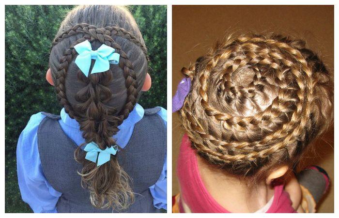 Прически с круговыми косами для девочек, фото