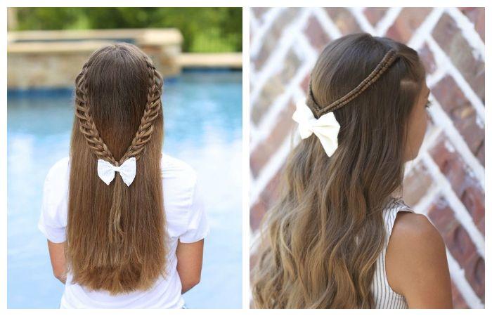 Прически с двумя косами и распушенными волосами для школы, фото