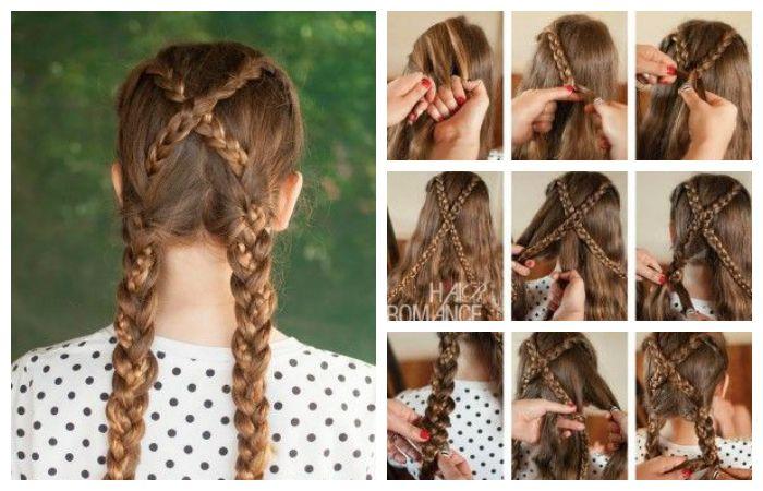 Пошаговое фото по созданию прически с двумя косами для девочки, фото