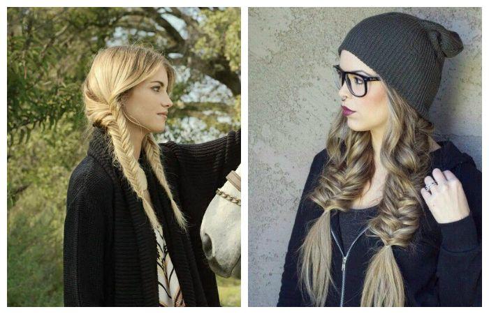 Прическа под шапку с двумя низкими косами, фото