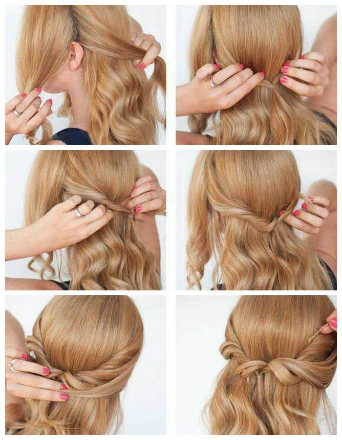 Пошаговое фото прически на длинные или средние волосы.