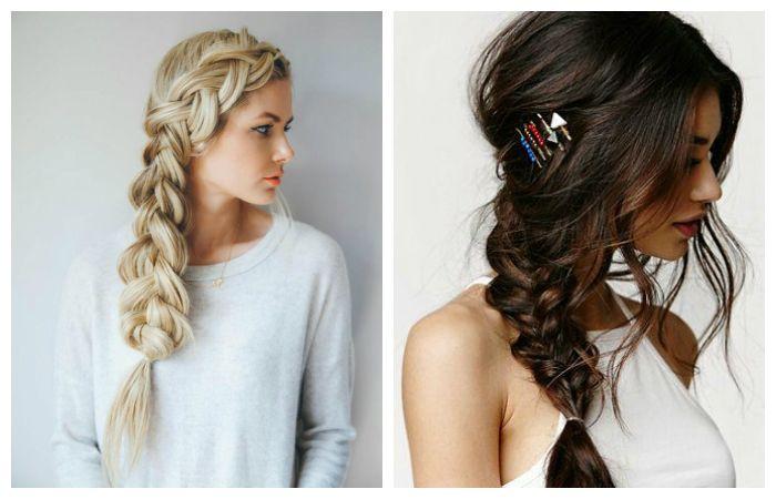 Прически на длинные волосы коса с боку