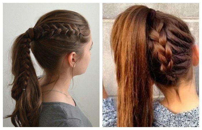 Прически в школу с косой переходящей в хвост для подростков, фото