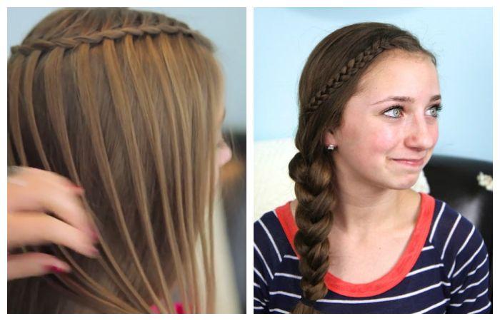 Прически в школу водопад и коса на один бок для подростков, фото